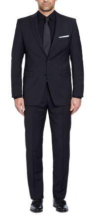 Black dress Digel drop six modern fit pure wool fabric Marzotto 100's