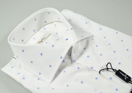 Camicia ingram slim fit bianca fil coupè azzurra