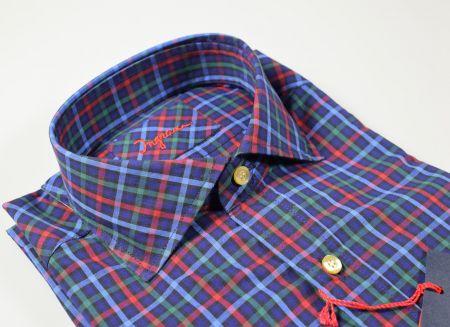 Ingram slim fit blue plaid shirt in washed cotton