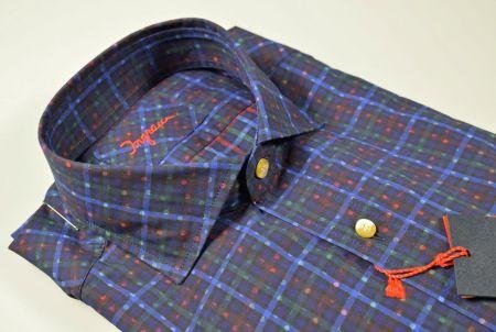 Ingram blue plaid shirt in washed cotton slim fit