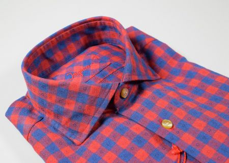 Ingram slim fit shirt in blue and red square flannel
