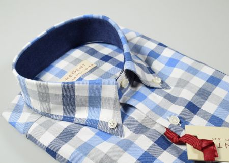 Button down checked shirt Pancaldi in flannel regular fit