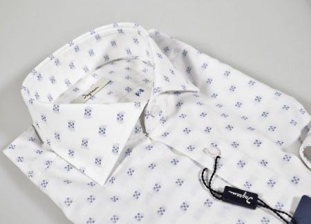 Ingram slim fit white shirt with blue design
