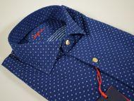 Camicia ingram slim fit collo francese blu micro disegno azzurro