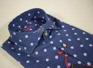 Camicia ingram blu a pois vestibilità slim fit collo francese
