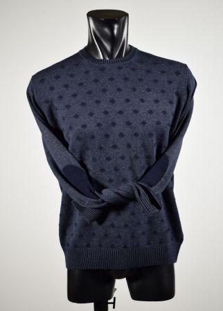 Maglione giro collo ocen star slim fit con toppe a fantasia in tre colori