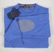 Sweater round neck with patches in wool cashmere regular fit in 5 colors