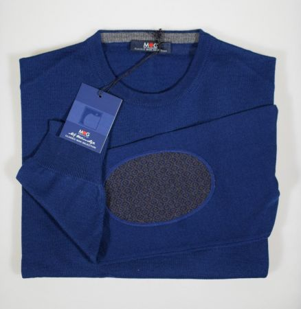 Maglione giro collo con toppe in lana pettinata mg boys in quattro colori