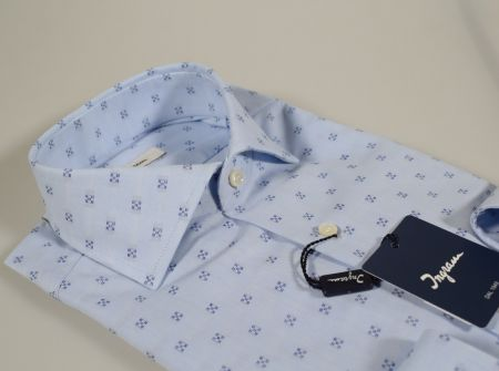 Camicia ingram celeste slim fit collo francese in puro cotone
