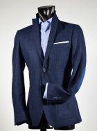 Giacca micro disegno blu john barritt slim fit con toppe in contrasto