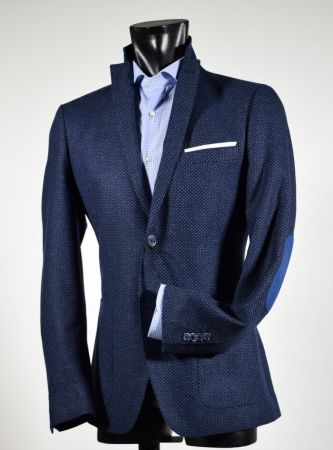 John Barritt Slim fit blue micro design jacket with contrasting patches