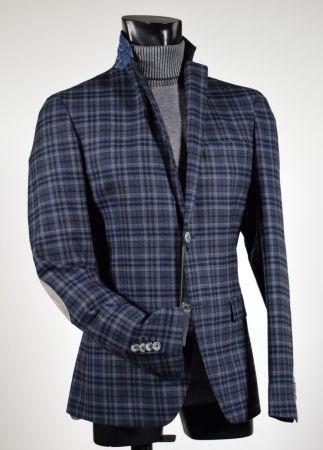 timeless design 86c90 12325 Giacca slim fit john barritt fantasia a quadri blu e grigio con toppe