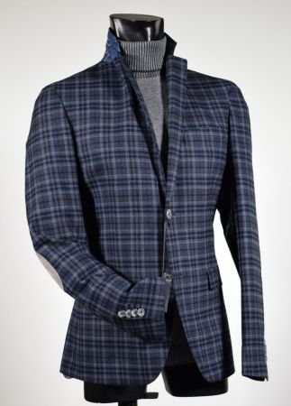 John Barritt plaid slim fit jacket blue and grey with patches