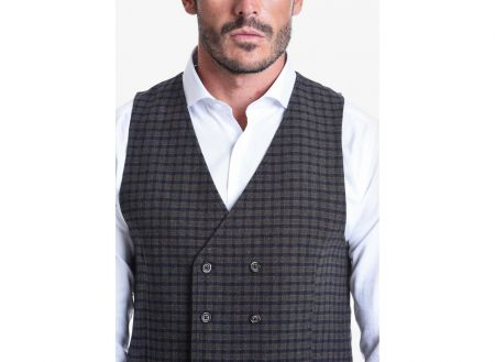 John Barritt vest double breasted slim fit fancy blue plaid green