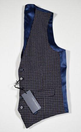 Gilet john barritt slim fit fantasia a quadri blu e bordeaux misto lana