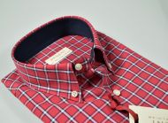 Camicia bordeaux a quadri pancaldi collo button down regular fit