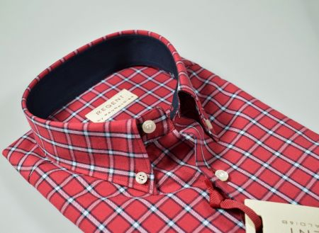 Camicia bordeaux a quadri pancaldi collo button down regular fit