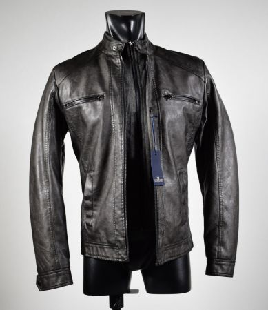 Short straight bottom jacket in eco leather slim fit