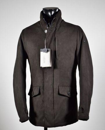 Brown faux suede jacket with detachable bib