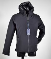 Black technical short jacket with straight bottom with hood