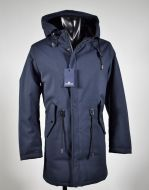 Technical fabric parka with hood in two colours