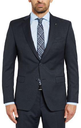 Abito blu micro disegno digel drop quattro corto in lana reda super 110's