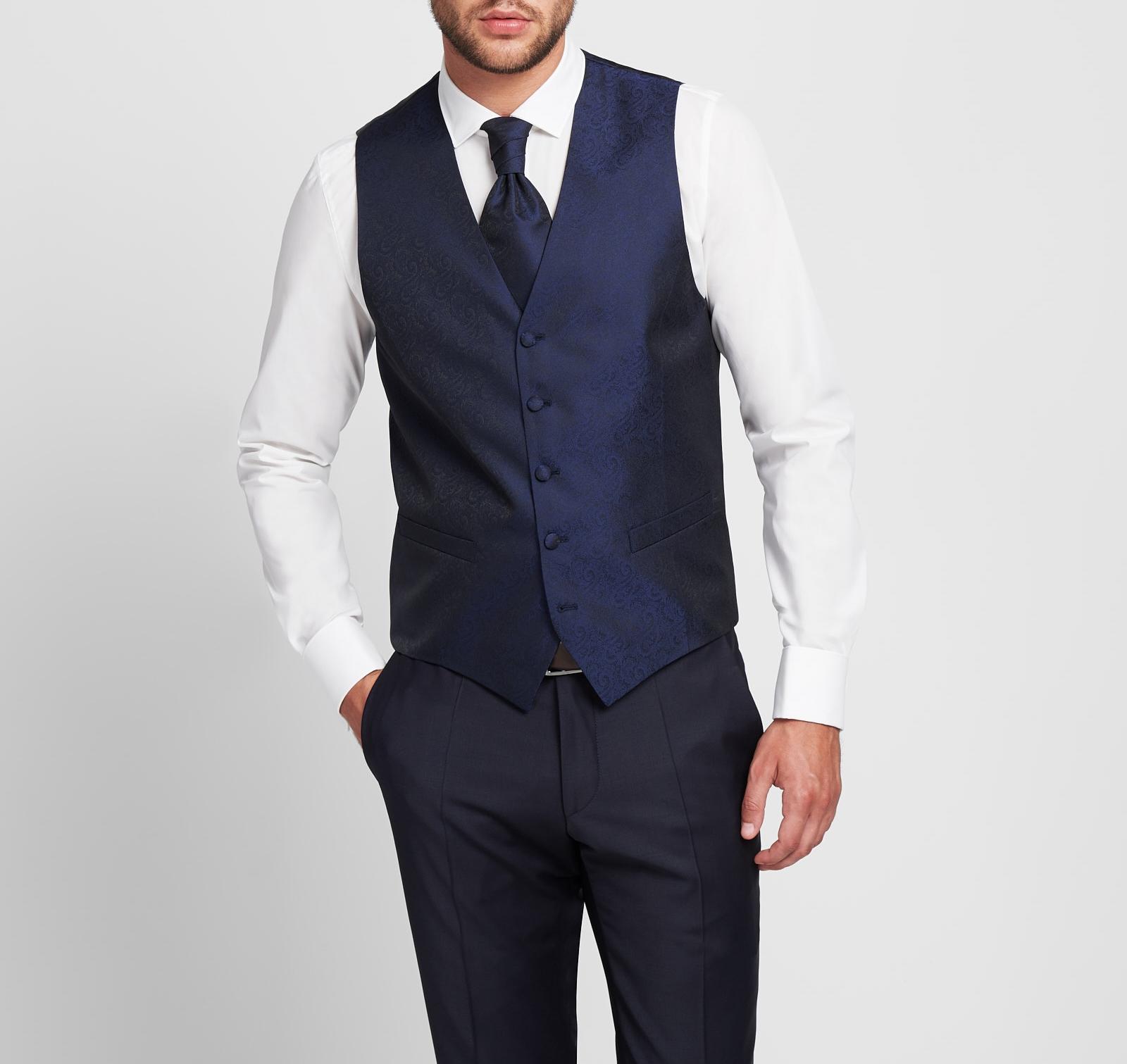 Panciotto uomo Digel da cerimonia Blu completo di cravatta e pochette 80b05d716c94