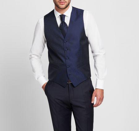 Digel blue damask satin wedding vest