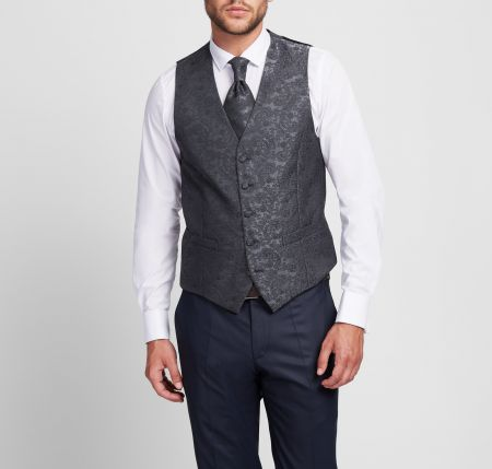 Elegant Digel dark grey satin waistcoat