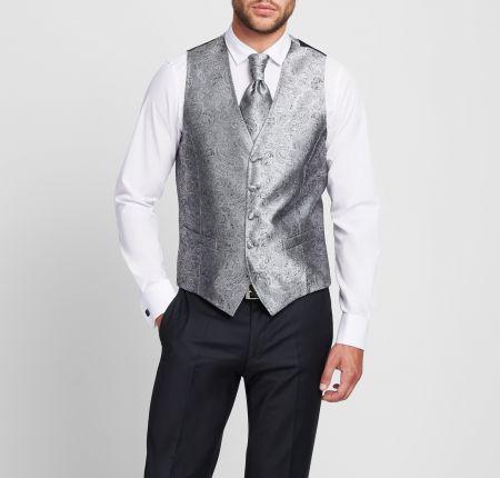 Waistcoat vest grey pearl Digel with tie