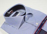Camicia ingram slim fit a righe azzurro cotone no stiro doppio ritorto