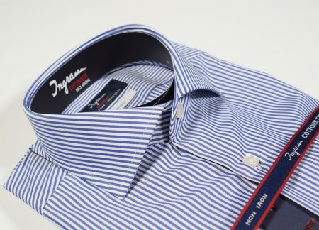 Ingram shirt Slim Fit stripe blue cotton no double twisted iron