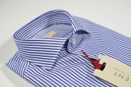 Camicia pancaldi a righe blu slim fit collo francese