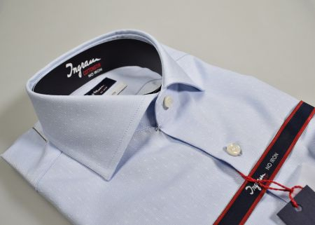 Shirt Ingram Slim Fit light blue fancy cotton double twisted No iron