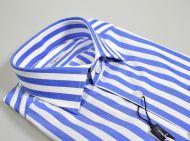 Camicia ingram a righe azzurro slim fit puro cotone