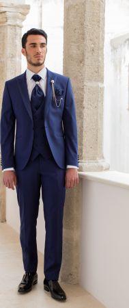 Abito bluette slim fit musani cerimonia completo di panciotto cravatta camicia