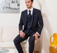 Abito blu musani cerimonia slim fit completo di panciotto e cravatta
