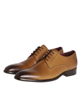 Lace-up shoe digel color cognac in real leather