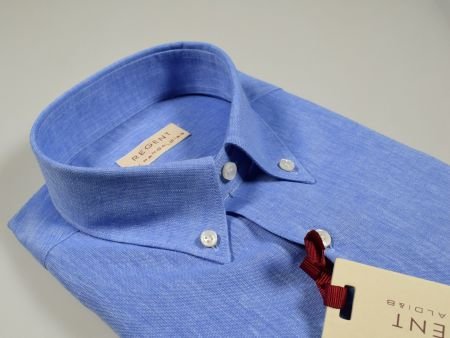Shirt in linen and cotton pancaldi neck button down