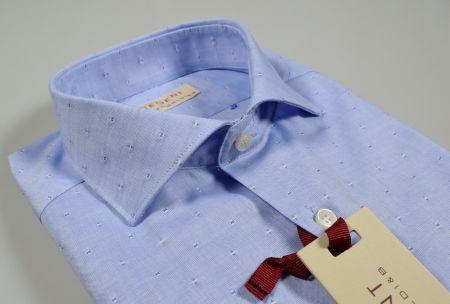 Camicia slim fit pancaldi celeste disegno ricamato fil coupè