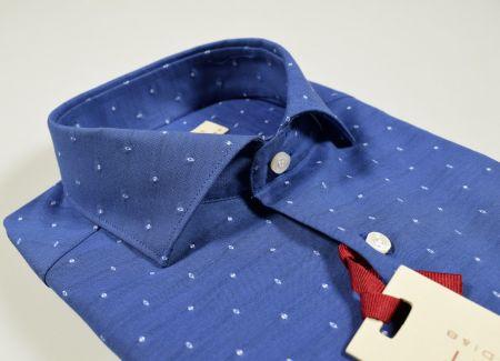 Camicia slim fit azzurro collo francese puro cotone ricamato
