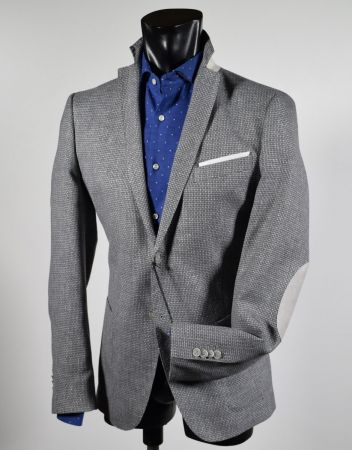 Light grey jacket John Barritt with cotton and linen patches