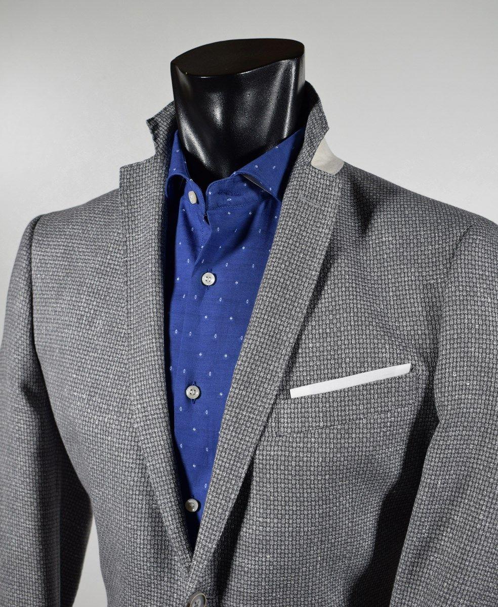 Men s fashion jacket John Barritt light grey unlined cotton and flax ... 60f6803c8b1
