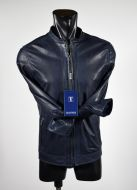 Blue Slim fit short leather talent jacket
