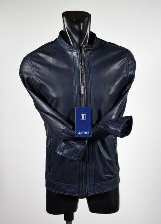 Blue Slim fit short leather talent jacket