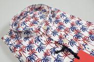 Camicia ingram in cotone lavato collo coreana con tasconi fantasia floreale