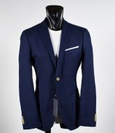 John Barritt blue Pure cotton jacket with contrasting patches