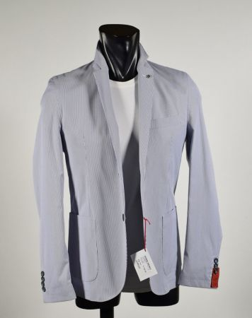 Cotton stretch jacket with blue stripes unlined made in Italy