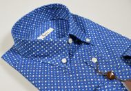 Camicia ingram button down azzurro scuro stampato regular fit
