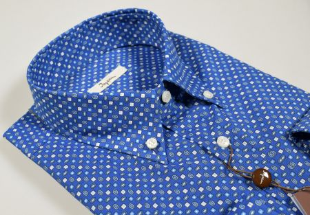 Camicia ingram button down azzuro scuro stampato regular fit